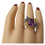 One of a kind Solid 18kt White Gold unique Multi Faceted Cut Amethyst and genuine Gem set Ring from Estate