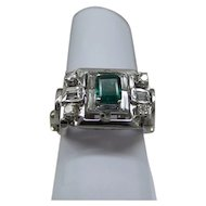 Estate Fine quality 14kt White Gold Natural Diamond and Natural Columbian Emerald Ring