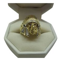 Heavy Solid14k Gold 1950's Detailed Indian Head Ring with Natural Colored Gem Stones.