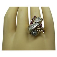 Original Retro 1940s 14kt Solid Pink Gold Natural Diamond and Ruby Ring......A True Classic