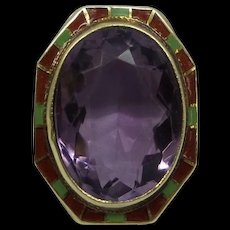 Fabulous Large Solid 14kt with Natural 9 ct. Amethyst and Multi-Color Enamel Filigree Ring..Original Art Deco 1920's
