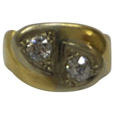 Unique Gents Original 1940s 2 Old Natural European Cut Diamond Ring  .60 cts. Total......Very Nice