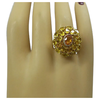 Spectacular Solid 18kt. Gold Multi-Color Natural Sapphires and Diamonds Cocktail Ring.  Gorgeous