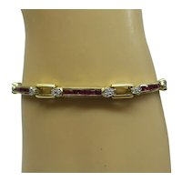 Estate solid 18kt Natural Ruby and Diamond Straight line Bracelet...Beautiful