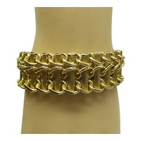 Super 1940's Original Retro Wide Solid 14kt Heavy Hand made Bracelet....67.3 Grams......Asymmetrical Design