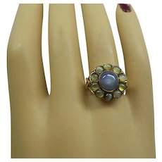 Very Rare Original Victorian C.1880 14kt Natural Chrysoberyl Cats Eye and Star Sapphire Cluster Ring.....One of a kind