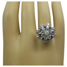 1960's Solid 14kt White Gold Natural Diamond and Sapphire Cluster Cocktail Ring