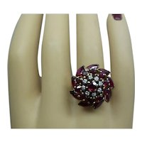 Fine Solid 14kt Circa 1950's Natural Marquisl Rubies and Natural Diamonds Cocktail Ring...Stunning