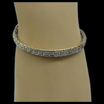 "Very Nice Estate Solid 14kt ""2 tone"" Straight Line Diamond Bracelet.  2-1/4 cts total fine diamonds"