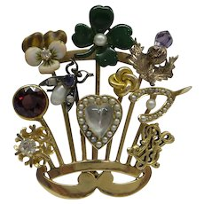 Unique 14kt Victorian Stick Pin Collection made into a Fabulous Antique Pin/ Pendant...10 Great Antique Stick Pins