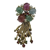 Original 1940's Multi-Gemstone,  Multi-Tassel,  Solid 14kt Pin,  Very Unique