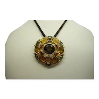 "Estate Signed ""Nicole Miller"" Large Solid 14kt Multi Color Semi Precious Stones,  Pin Pendant.   Fine Quality"