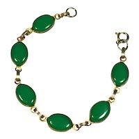 Vibrant  Kelly Green Glass Cabochon Bracelet