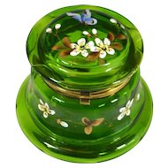 Victorian Hand Painted Green Glass Dresser Jar Casket Butterfly