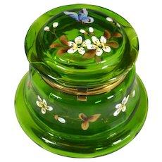 Victorian Hand Painted Green Glass Dresser Jar Casket Butterfly