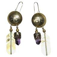 Sterling Native American Earrings Amethyst Quartz Crystals