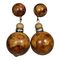 Funky 60's Burl Wood Lucite Earrings
