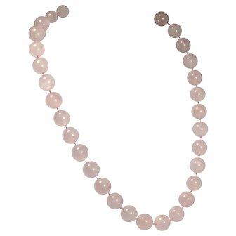 Vintage Rose Quartz Necklace Large Beads Hand Knotted