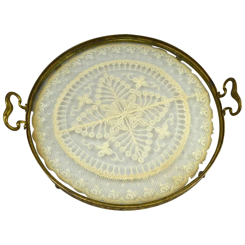Brass And Glass Vanity Tray Embroidered Lace Insert