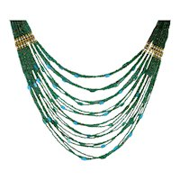 Translucent Venetian Art Glass Seed Bead Necklace Emerald Green