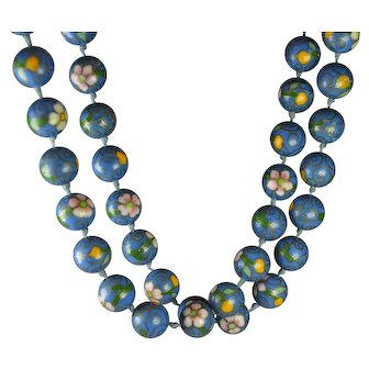 "Vintage Chinese Export Cloisonne Necklace ""Denim"" Blue"