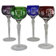 Set of 4 Jewel Colored Crystal Cut-to-Clear Wine Glasses  Ajka Marsala