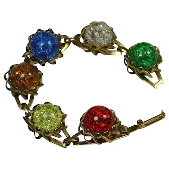 Mid Century Crackle Glass Orb Bracelet