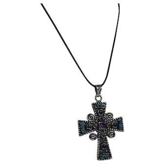 Esperanza Mexico Bold Sterling Cross Genuine Stones Hallmarked