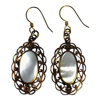 Mother of Pearl MOP Dangle Earrings Copper Filigree