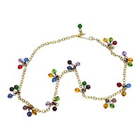 Vintage Glass Beads Dangle Necklace