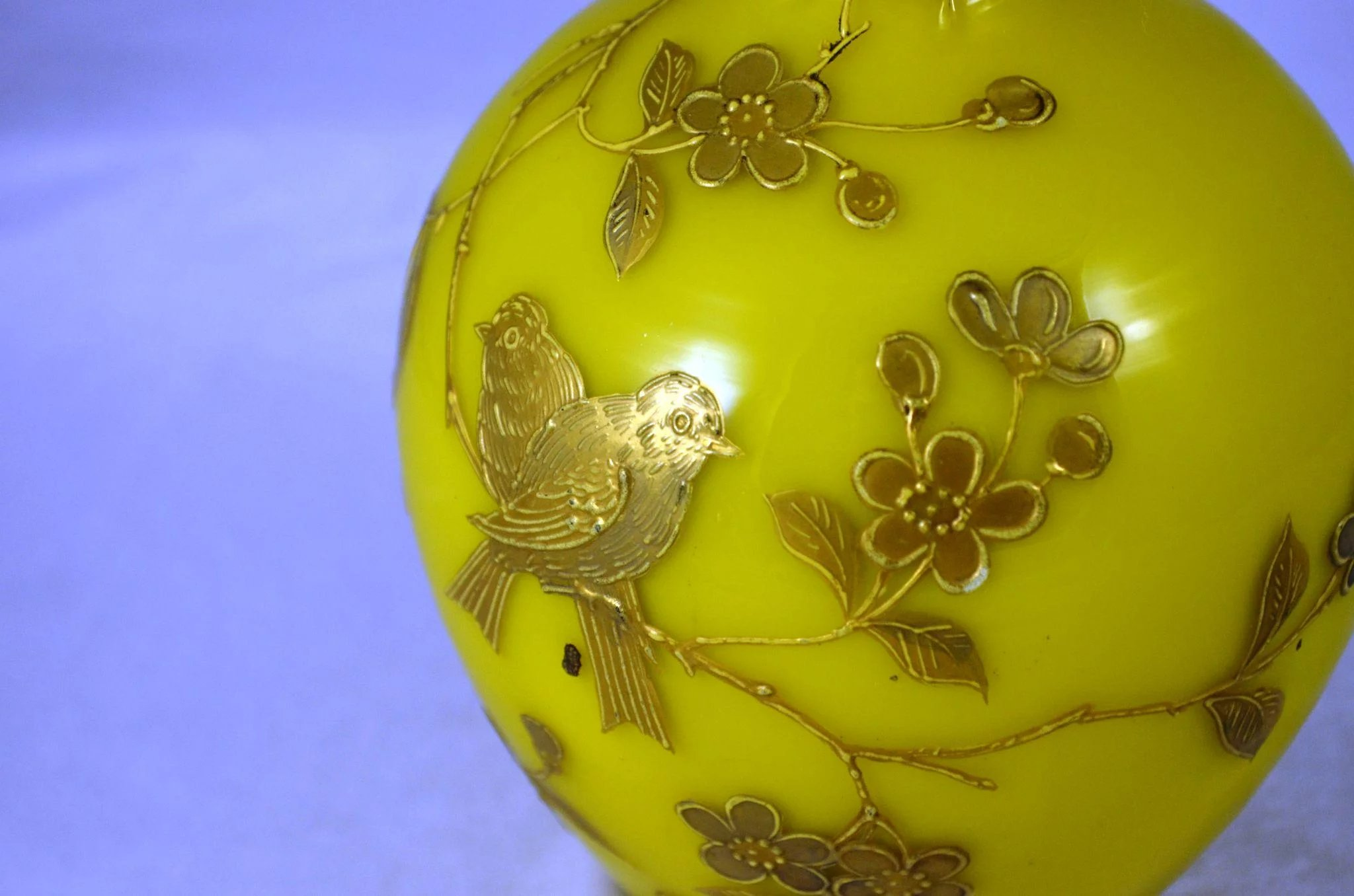 Victorian Yellow Cased Glass Vase Pink Interior Gilded