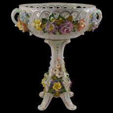 Dresden Porcelain Compote Carl Thieme Applied Flowers