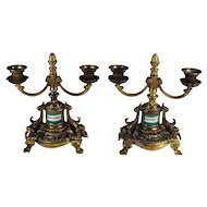 Pair of Vintage Candelabras Bronze Wash Porcelain Inset