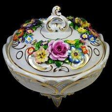 German Porcelain Candy Dish von Schierholz Applied Flowers