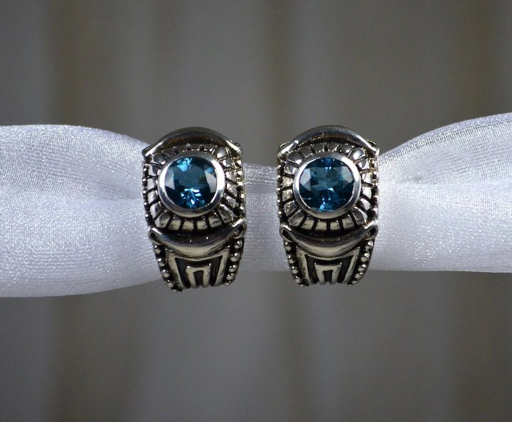 a894b074a27c Sterling Earrings Blue Synthetic Stones