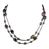 Retired Brighton Necklace Glass Mountain Double Chain Crystal Stations