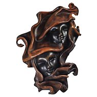 Vintage 3D Hand-Tooled Sculpted Leather Wall Art Two Faces