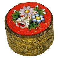 Vintage Italian Micromosaic Brass Pill Box