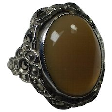 Vintage Peach Moonstone Marcasite Sterling Ring