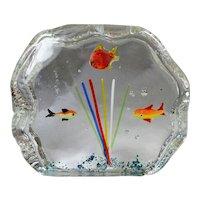 Small  Mid-Century Art Glass Murano Fish Aquarium Block