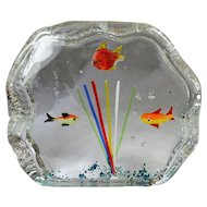 Small  Mid-Century Art Glass Murano Fish Aquarium Block