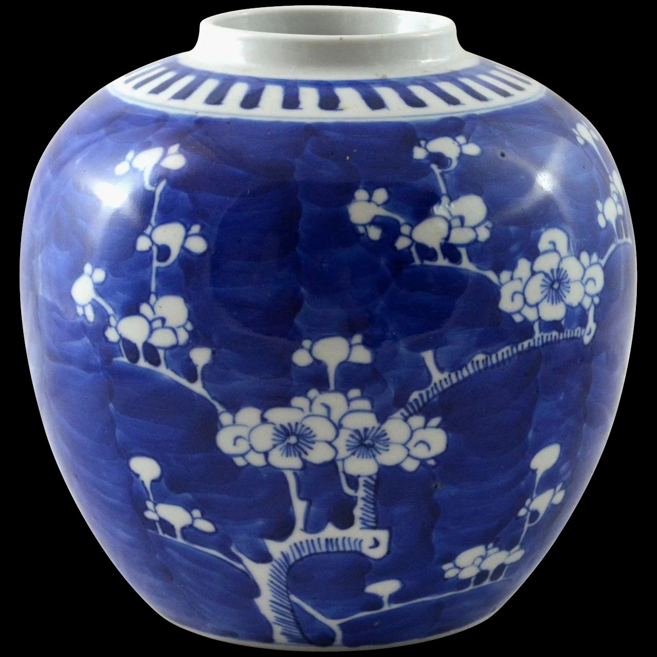 Antique chinese cobalt blue vase jar prunus or hawthorn design click to expand floridaeventfo Image collections