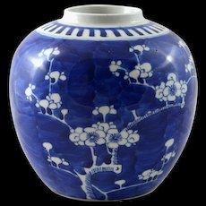 Antique Chinese Cobalt Blue Vase, Jar, Prunus or Hawthorn Design