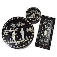 Fantastic Set Chinese Boxes and Tray Mother of Pearl Inlay Black Lacquer