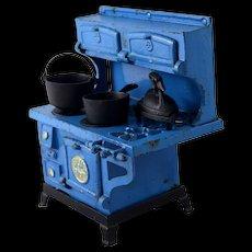 Vintage Blue Bird Cast Iron Stove Salesman's Sample, Dollhouse Furniture