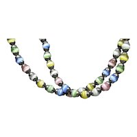 Cats Eye Art Glass Beads Necklace Sterling with Pastel Colors
