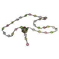Open Back Crystal Lavalier Necklace Pastels