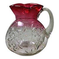 EAPG Northwood Royal Oak Water Pitcher Rubina Glass