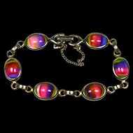 "Vintage Rainbow Glass Cabochon Bracelet, Sarah Coventry ""Harmony Iris"""