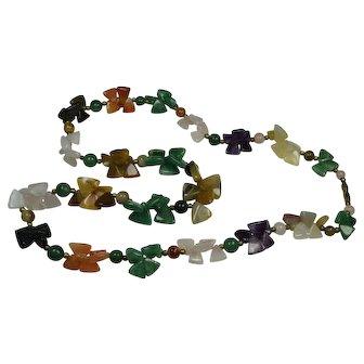 Heavy Polished Semi-Precious Stone Necklace
